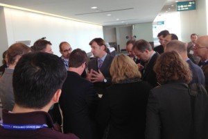 Ford Motor Company's Jim Farley, Executive Vice President of Global Marketing, Sales, Service and Lincoln with media.