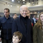 Vice President Joe Biden tours The 2014 Washington Auto Show with his grandson.
