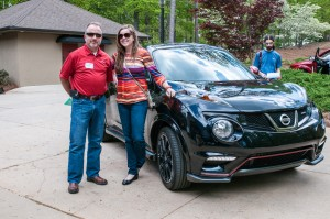 Nissan's Steve Parrett and Paige Presley with the Nissan Juke NISMO.