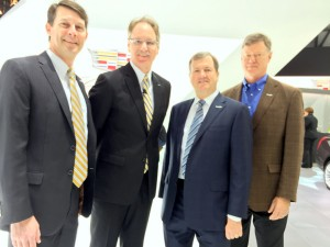John O'Donnell, president and  CEO of Washington Area New Automobile Dealers Association, Johan deNuysschen,  president, Cadillac and General Motors EVP, Daniel Jobe, president, Capitol Cadillac and  Geoff Pohanka, VP Pohanka Automotive Group and 2016 chairman of the Washington Auto Show.