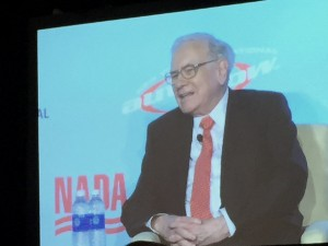 "At NADA Symposium in NYC today Buffett said,""Mary Barra took me to lunch and sold me a car. I Had a 2006 Cadillac."""