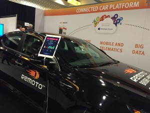 A Nissan controlled with smart phone Connected Car Expo.