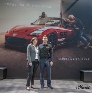 Tamara Mlynarczyk, Manager, Public Affairs, Mazda North American Operations with Mazda Motorsports racer Andrew Carbonell, who helped develop Mazda's 2016 Global MX-5 Cup car!