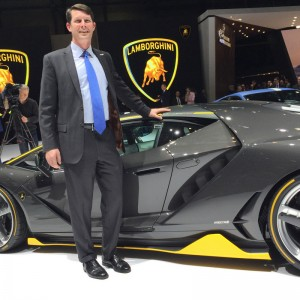 """Stylish Man, Sexy Car"" John O'Donnell, ceo, The Washington Auto Show looks great next to a lovely Lamborghini."