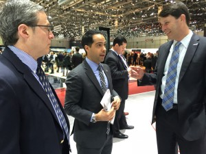 Robert Yoffe, show manager, The Washington Auto Show, John Paolo Canton, senior public relations manager, Americas Region at McLaren Group Ltd and John O'Donnell, ceo, The Washington Auto Show.