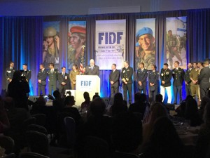 FIDF Southeast Executive Director Seth Baron welcomes a group of Lone Soldiers to 2016 Atlanta FDIF gala.