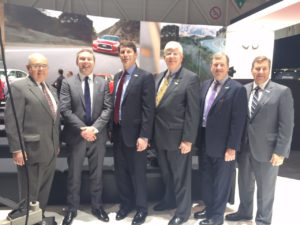 Members of the Washington Area New Automobile Dealers Association at the Infinity display in Geneva - Charles Stringfellow, Tim Glynn with Infiniti, John O'Donnell, George Doetsch, Daniel Jobe and John Bowis